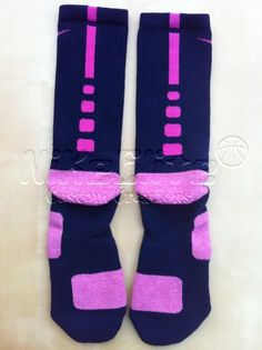 nike+socks | Nike Elite Basketball Socks 8 12 L Navy Blue Pink | eBay