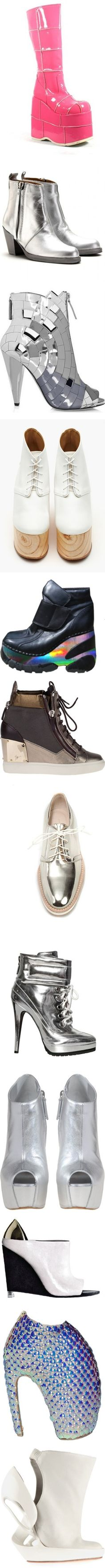 """Futuristic shoes and accessories"" by ladysnape ❤ liked on Polyvore"