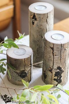 Fallen branch turns into a stunning tea light candle holder... started with your basic aspen limbs, cut each of them to size, making them 4″, 6″ and 8″ tall… find the center of ea. then use drill press with a 1 1/2 drill bit to cut out the center.
