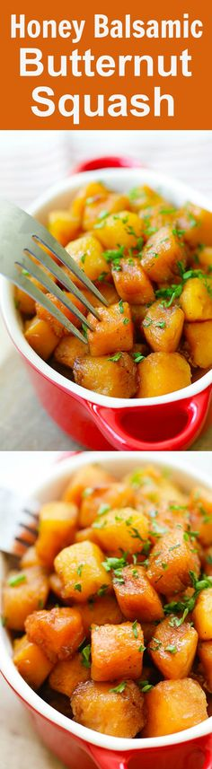 Honey Balsamic Butternut Squash – roasted butternut squash with honey balsamic. A perfect side dish that takes only 20 mins | rasamalaysia.com