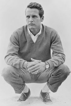 PAUL NEWMAN Classic Style.....  Maison Martin Marciela (seamless V- Neck Wool Sweather...Margret Howell  WhiteCotton Shirt...Maison Martin Maricela  Classic  Cotton Chinos....Converse Cotton - Pique Canvas Jack Purcell Sneakers