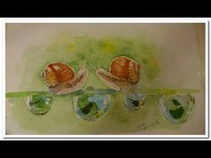 """""""УЛИТКИ"""" ПРОЦЕСС РИСОВАНИЯ АКВАРЕЛЬЮ Watercolour painting """"Snails"""" - YouTube"""