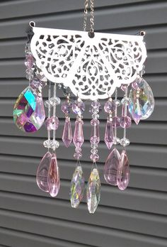 Wind chime / sun catcher Crystal Pink by GardenBlingbyKristin