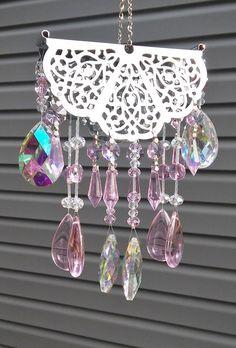 Wind chime / sun catcher  Crystal Pink by GardenBlingbyKristin