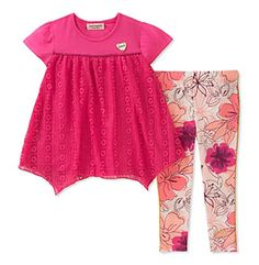 Juicy Couture Girls' 2T-6X 2 Piece Tunic With Floral Leggings Set