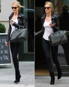 Rosie Huntington-Whiteley. Biker chic outfit