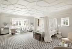 Amazing white bedroom with mosaic ceiling and mirrored cabinets and tables. #painters #decorators #builders #tilers #London #bedroom #white
