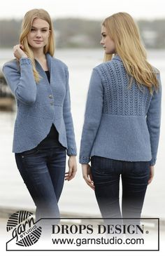 "Knitted DROPS jacket with short rows, #lace pattern and shawl collar in ""Lima"". #knitting"