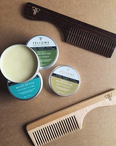 A selection of Fellows Essential Gentleman beard butter: vanilla, forest, autumn warmth and lime.