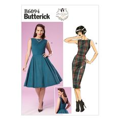 Retro sewing pattern dress Gertie halter boned bodice Fifties 50s style B6019