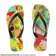Mexican Street Party Flip Flops Summer Wear, Summer Shoes, Beach Flip Flops, Workout Wear, Party Hats, Flipping, Me Too Shoes, Mexican, Footwear
