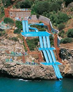 AMAZING! Extreme Water Slide into the Ocean - Sicily, Italy.