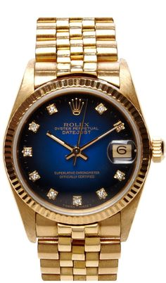 CMT Fine Watch and Jewelry Advisors Vintage 18K Gold Rolex Oyster Perpetual Datejust with Blue Vignette Diamond Dial on shopstyle.com