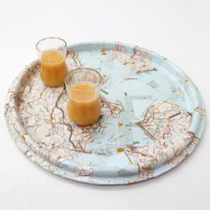 Trip tray made from old maps handmade in Italy | ITALY Magazine