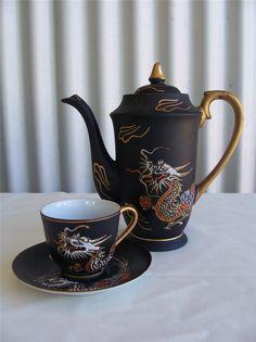 Vintage Moriage Dragon Tea Coffee Pot Teapot Lithophane Geisha Teacup Saucer