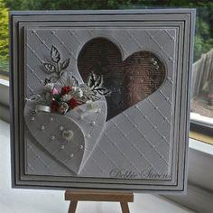 Wedding Card - I really like the folded heart with the flowers.