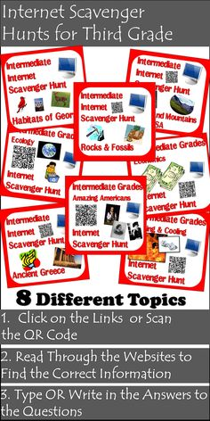 Packet of internet scavenger hunts developed specifically for third grade students.  Each internet scavenger hunt includes three different variations: type on, clickable link and QR code.  Topics include: Heat  Habitats of Georgia Ecology Rocks and Minerals Important Americans Rivers and Mountains Ancient Greece Economics  Download all 8 for just $18.00.
