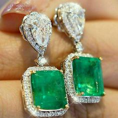 Emerald jewelry - Details about Fine Engagement Dangle Drop Simple Earrings With 31 19 Carat Emerald & White CZ – Emerald jewelry Emerald Earrings, Emerald Jewelry, Gemstone Jewelry, Green Earrings, Cluster Earrings, Silver Earrings, Silver Jewelry, Pendant Necklace, Simple Earrings
