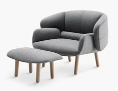 New furniture collection by Nendo, which includes a seat that appears to hug itself