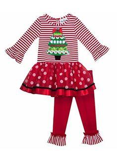 4724c101a28614 Rare Editions Baby Girls Christmas Tree Stripes & Dots Ruffle Tunic &  Leggings