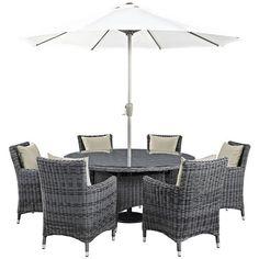 Summon 8 Piece Outdoor Patio Sunbrella® Dining Set