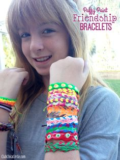 Tween Puffy Paint Friendship Bracelet Craft Idea by Club Chica Circle.