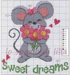Copertine per neonato con topolini a punto croce / Baby blanket with cross-stitched mice