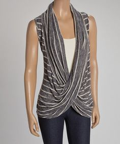 Look what I found on #zulily! Black & White Stripe Drape Sleeveless Top by sun n moon #zulilyfinds