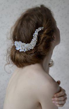 bridal comb  natural opal   http://www.lucjazajac.com https://www.facebook.com/lucjazajacatelier