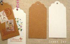 Etichette adesive - 20pcs DIY Kraft Paper cards - Kraft Color - un prodotto unico di FabricInWonderland su DaWanda