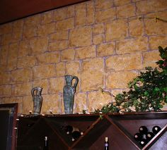 Painted faux stone wall