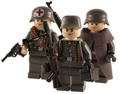 WW2 - German 3 Man Specials - custom minifigs created using custom printed Lego body parts plus custom headgear and weapons.