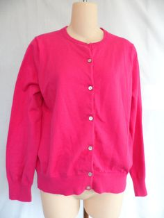 Lands End Crewneck Cardigan Sweater Button Front Hot Pink Size M/P (10-12)