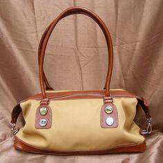 Etienne Aigner Cream & Brown Double Strap Handbag