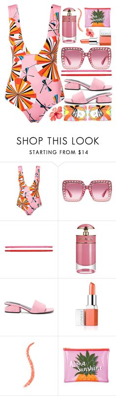 """""""Ready, set, beach"""" by sunnydays4everkh ❤ liked on Polyvore featuring Emilio Pucci, Gucci, Kate Spade, Prada, Alexander Wang, Clinique, Sunnylife and ICE ICEBERG"""