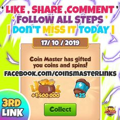 Coin master free spins coin links for coin master we are share daily free spins coin links. coin master free spins rewards working without verification Lotto Winning Numbers, Daily Rewards, Coin Master Hack, Miss You Gifts, Free Cards, Amazon Gifts, New Tricks, Revenge, Cheating