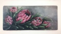 Protea Art, Protea Flower, Painting Gallery, Art Gallery, Fabric Painting, Painting & Drawing, List Of Paintings, Oil Paintings, Wooden Art