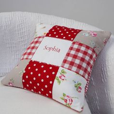 Red Patchwork Name Cushion by Tuppenny House Designs, the perfect gift for Explore more unique gifts in our curated marketplace. Patchwork Quilt Patterns, Patchwork Cushion, Crazy Patchwork, Quilted Pillow, Patchwork Ideas, Applique Cushions, Red Cushions, Sewing Pillows, Diy Pillows