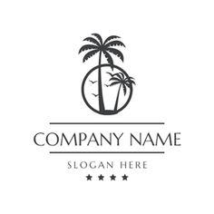 Coconut Tree and Tropical Resort logo design , Creative Logo, Custom Logo Design, Custom Logos, Palm Tree Drawing, Oak Tree Tattoo, Beach Logo, Resort Logo, Wine Logo, Identity