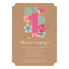 Magnet chalkboard girls 1st birthday party magnetic card 1st chalkboard girls floral 1st birthday party invite filmwisefo Choice Image