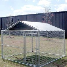 "Keep your pup protected from the sun and sheltered from the rain under the Low Pitch Kennel Cover. Structured in a 20 gauge 1 3/8"" powder-coated steel frame, the Low Pitch Kennel Cover will attach to square-cornered 10x10 dog kennel. The cover meets California fire codes as well as commercial fire codes and provides high UV protection from the sun's harmful rays."