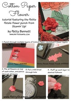 How to Make a paper flower with Stampin' Up! Cotton Paper and a flower punch by Patty Bennett