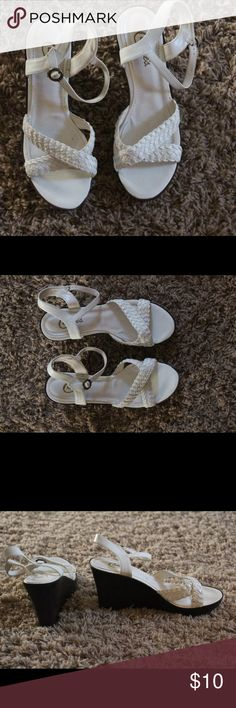 White wedge sandles White sandals with braided straps across top.  Fun, cute and comfy. Candie's Shoes Sandals