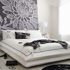Wow!  Lace Headboard: INLOVE with the headboard