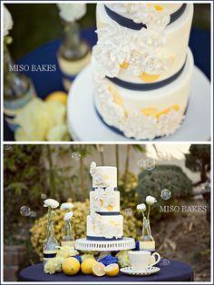 navy white and yellow cake