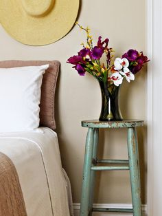Turquoise-colored Shabby Chic Stool
