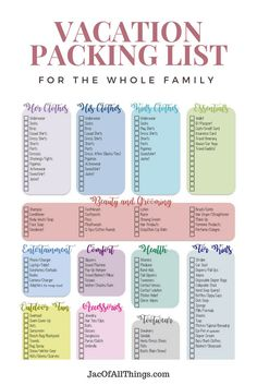 Packing is tough! Follow this ultimate packing list for the whole family to make packing easier!