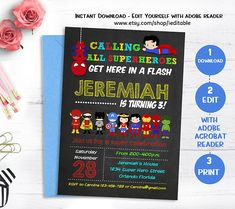 Superhero Invitation Superhero Birthday Chalkboard Super