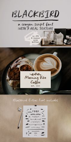 Blackbird is a script SVG font made from letters hand-drawn in crayon, for a deliciously textured look. Use Blackbird in designs such as postcards and notes, posters, logotypes, social media posts, branding and packaging, cover designs. #font #handwrittenfont #svgfont