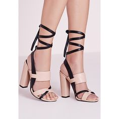 Missguided Contrast Ankle Tie Block Heel Sandals  ($57) ❤ liked on Polyvore featuring shoes, sandals, nude, nude block-heel sandals, block heel sandals, ankle wrap sandals, ankle strap sandals and sexy high heel sandals